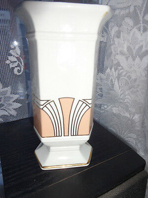 Lovely Art Deco Royal Winton Cream Gold And Peach Vase