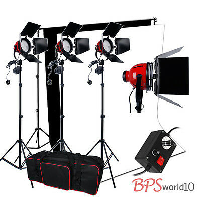 2400W Red 3 Heads Lighting Kit Video Readhead Dimmer 2 Backdrop+Background Stand