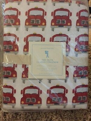 Pottery Barn kids Fire truck Full Flannel Sheet Set New With Tags