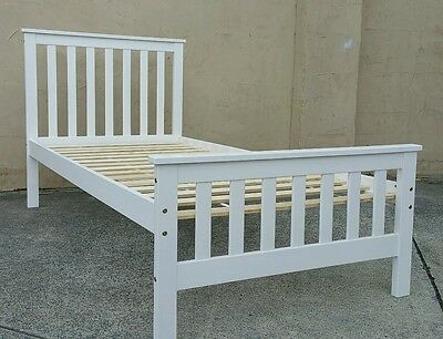 Single White Wooden Bed Girls , Boys  New Bed Teenager Adult Solid Pine Guest