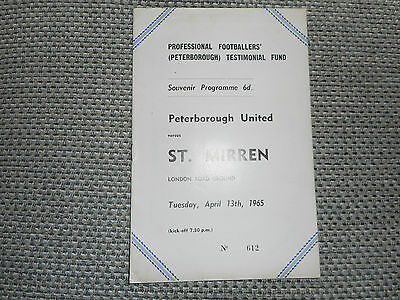 PETERBOROUGH UNITED  v  ST,MIRREN  1964/5  TESTIMONIAL ~ APRIL 13th *FREE POST*