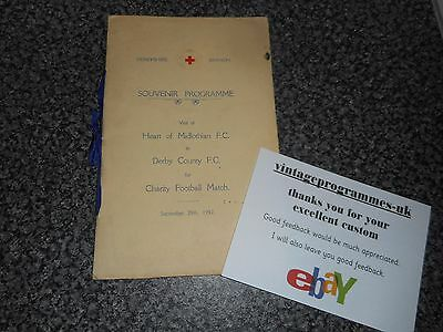 DERBY COUNTY  v  HEART OF MIDLOTHIAN 1937/8 CHARITY ~ DERBYSHIRE RED CROSS