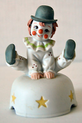 """Vintage Cute Baby Clown Jumping Porcelain Music Box """"It's A Small World"""""""