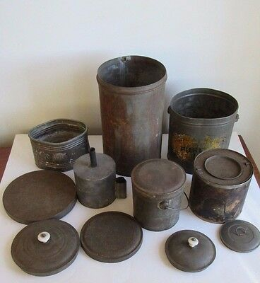 Vintage/Antique  Lot of Iron And tin Cans, Buckets And Lids