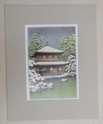 "Matted Print Kawase Hasui Japan Ginkakuji Temple Kyoto  8 x 10"" Sealed Gray Mat"