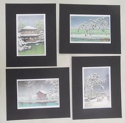 "Set of 4 Matted Prints Kawase Hasui Japan  8 x 10"" Sealed Black Mats"