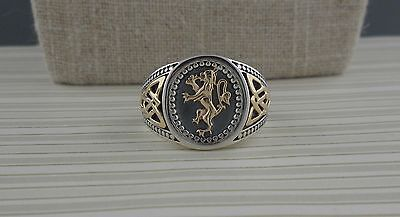 Sterling Silver Celtic Scottish Rampant Trinity Knot Signet Ring Keith Jack