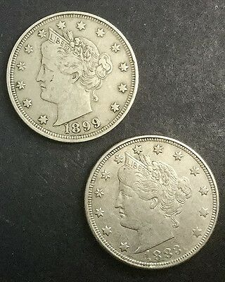 1883 NC 1899 Liberty Nickels  Pair Of Decent Collectors Coins