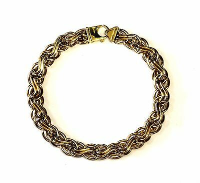 "14k yellow gold hollow designer fancy chain link bracelet 7.4g 7.5"" womens"