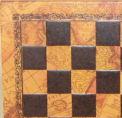 """10"""" Faux Leather Chess Board with Map Imprint"""