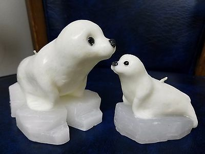 2 PC WHITE Harp / Lion Seals MOTHER & Baby SEAL PUP On Iceberg Candle FIGURINES