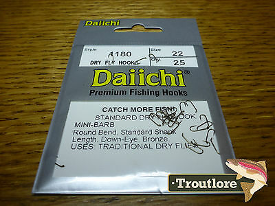 25 x DAIICHI 1180 #22 STANDARD DRY FLY HOOK MINI BARB NEW FLY TYING HOOKS