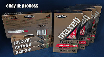 LOT of 8 Maxell HGX-Gold Premium High Grade T-120 VHS New Sealed Tape Tapes