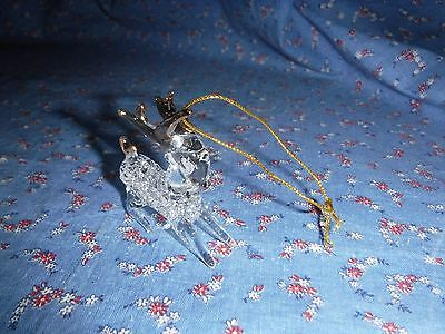 Beautiful Glass Christmas Ornament  Deer Gold Accents  About 2 Inch High