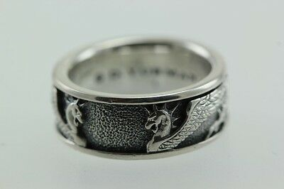 David Yurman 925 Sterling Silver Double Dragons MenS BAND RING SIZE 9 1/2 DY