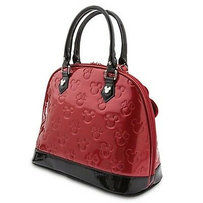 NWT Loungefly's Minnie/Mickey Red & Black Patent Leather Embossed Dome  Bag