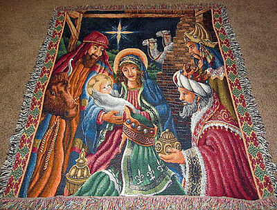 Christmas Nativity ~ Blessed Be The Name Tapestry Afghan Throw
