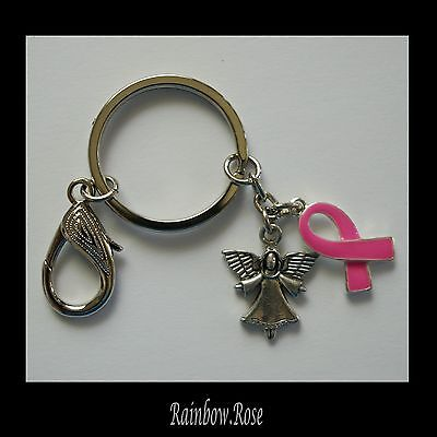 Keyring #831 ANGEL & BREAST CANCER AWARENESS Pink metal (25mm) keychain key
