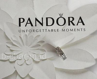 PANDORA | GENUINE Sterling Silver Bark Textured Spacer / Charm: 790181