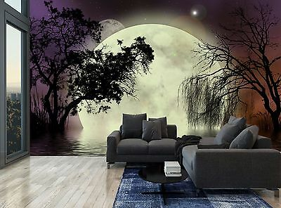 Night Forest Trees Moon Dark Water Photo Wallpaper Wall Mural GIANT WALL DECOR