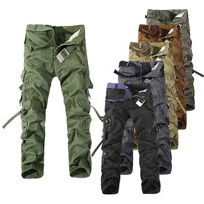 Hot Mens Military Army Cargo Trousers Solid Multi-pocket Skinny Casual Pants