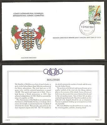 Maldives 10 March 1984 Olympics Swimming International Olympic Committee FDC