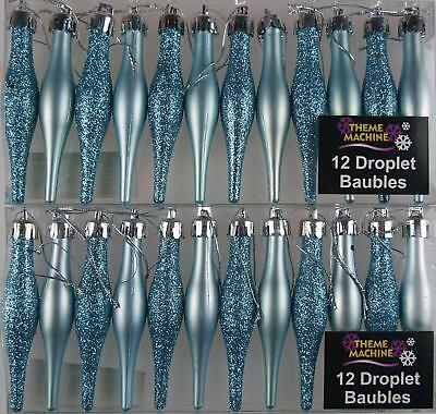 Set Of 24 ICE BLUE Christmas Tree Tear Drop Baubles Decorations