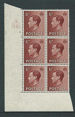 EVIII, 11/2d CONTROL A36 CYLINDER 4 DOT BLOCK OF 6 FINE UNMOUNTED MINT