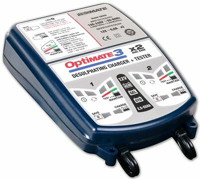 OPTIMATE 3 x 2 MOTORCYCLE DUAL 12V BATTERY CHARGER OPTIMISER LATEST SAE VERSION