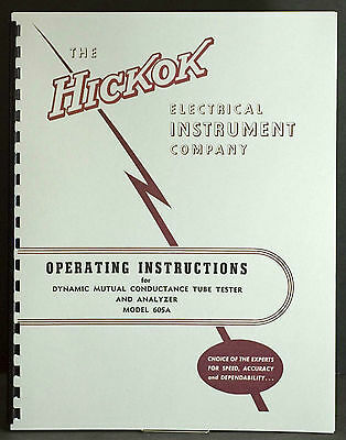 Hickok 605A Dynamic Mutual Conductance Tube Tester Manual