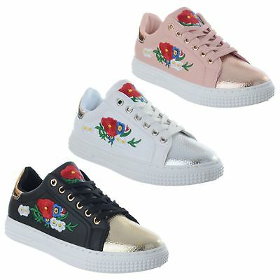 Ladies Womens Flower Embroidered Lace Up Flat Platform Trainers Pumps Shoes Size