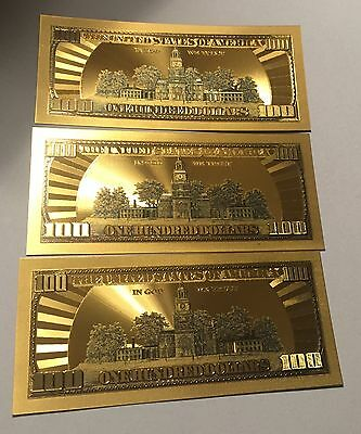3 Pieces $100 .999 24kt Gold W/ Green Details One Hundred $ Banknotes W/sleeves