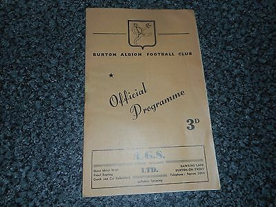 BURTON ALBION  v  KIDDERMINSTER HARRIERS 1958/9 BIRMINGHAM SENIOR CUP ~ NOV 8th