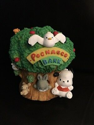 VINTAGE 1990's SANRIO POCHACCO AND FRIENDS TREE COIN BANK ~CUTE SHIPS FREE As Is
