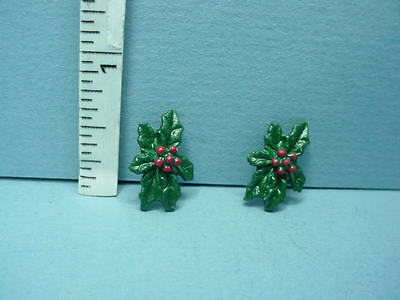 Dollhouse Miniature Christmas Holly Decoration #J103 (2pc) 1/12th Reynolds