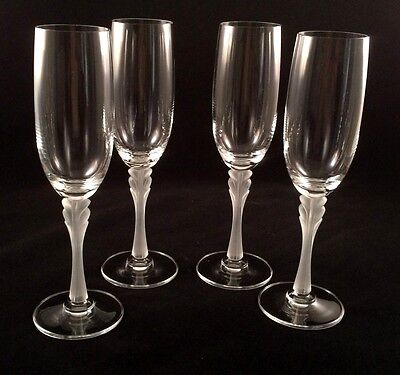 "Set of 4 Mikasa ""Firenze"" Champagne Flutes w/Frosted Stems"