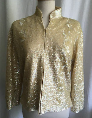 Vintage Gold Sequined Jacket Size 42
