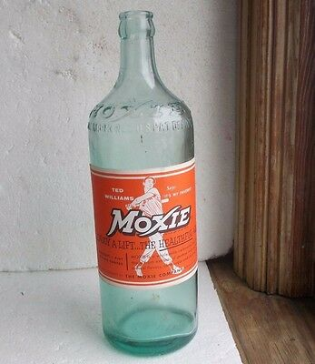 1943 Aqua Moxie Emb Bottle With Original Ted Williams Moxie Paper Label