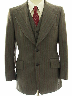 Givenchy Striped Vtg Wool Men Disco 38R Tailored Straight Front 3 Piece Suit