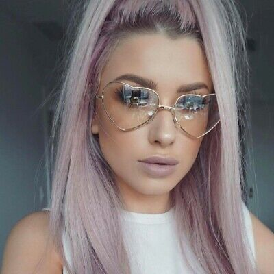 NEW Classic Vintage Retro Heart Shaped Style Clear Lens EYE GLASSES Gold Frame