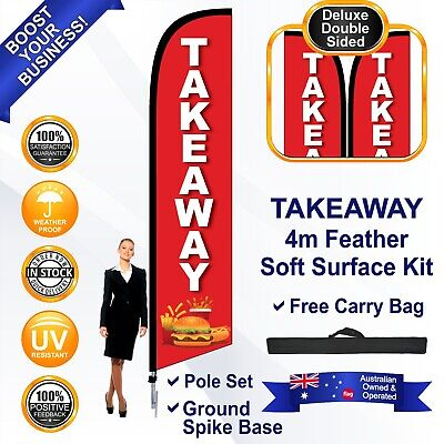 TAKEAWAY Red Deluxe 4m Feather Flag/Banner Kit with Spike *High Quality *Swooper