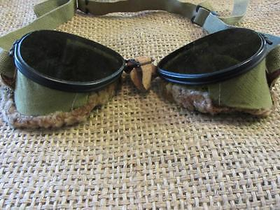Vintage Tinted Military Goggles & Pouch > Antique Steampunk Glasses 9702