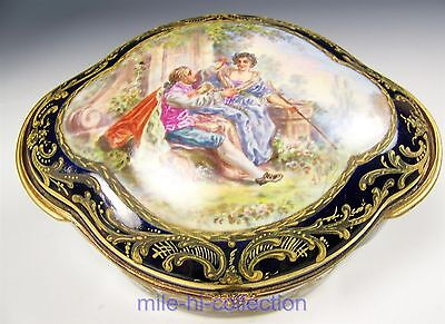 Antique 19C Sevres Handpainted Courting Couple Jewelry Trinket Box Casket Signed