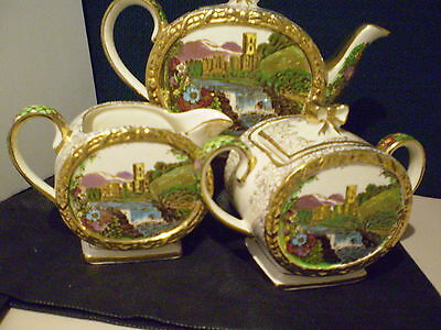 "SADLER TEA SET ""THE ABBEY FALLS"" BARREL SHAPE TEAPOT JUG SUGAR 1950's"