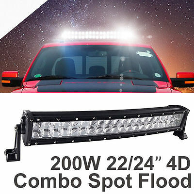 """200W 22"""" 24inch 4D Curved CREE Led Light Bar Spot Flood Combo Truck 4WD SUV A2"""