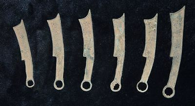 Set Chinese Warring States Period Qi Bronze Sword Shape Currency