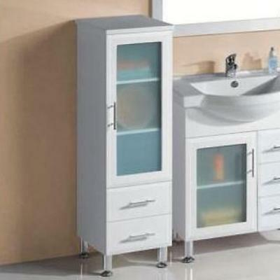 Bathroom Glass Door and 2 Drawers Tall Boy Cabinet 400*400*1300mm
