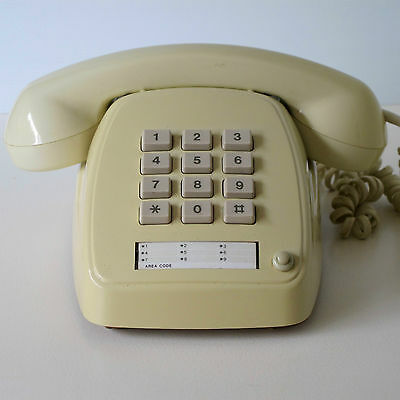 Telecom 1987 809S1 Push Button Telephone in Ivory Colour & Unused Number Panel