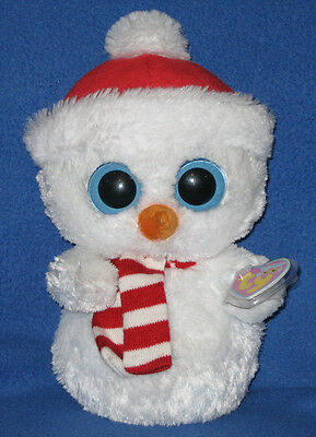 """TY BEANIE BOOS BUDDY SIZE - SCOOPS the SNOWMAN - MINT TAGS 10"""" PLEASE READ"""