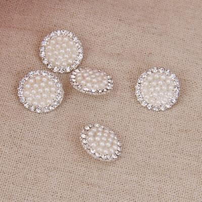 5Pcs Crystal Diamante Pearl Round Shank Buttons Embellishment Craft DIY 18MM